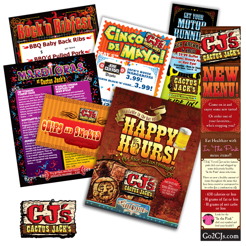 Print Collateral - Cactus Jack's (CJ's) of Manchester and Laconia