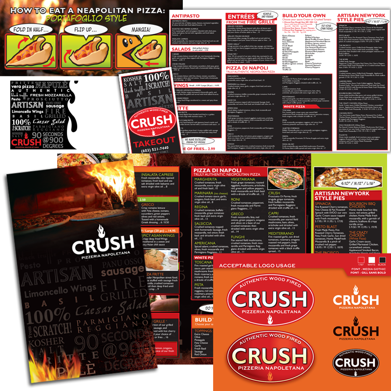Dinner & Takeout Menu / Logo Upgrade - Crush Pizzeria Napoletana
