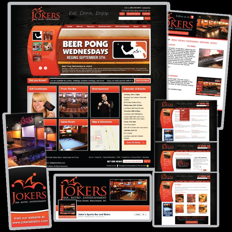 Website Design and Development / Social Media Support - Jokers Bistro