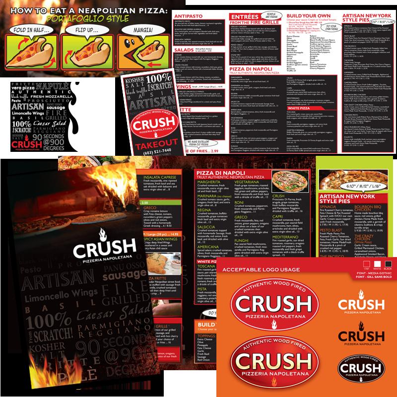 Dinner & Takeout Menu / Logo Upgrade - Crush Pizzeria Napoletana