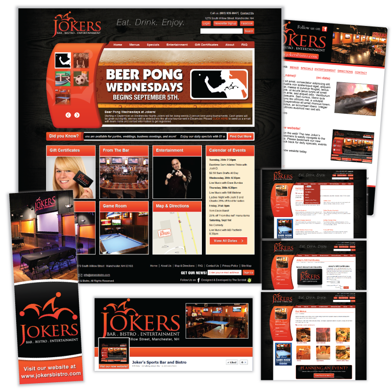 Website Design and Development / Social Media Support - Jokers Bistro